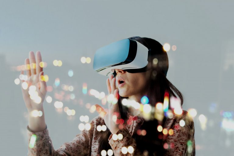 woman on vr headset
