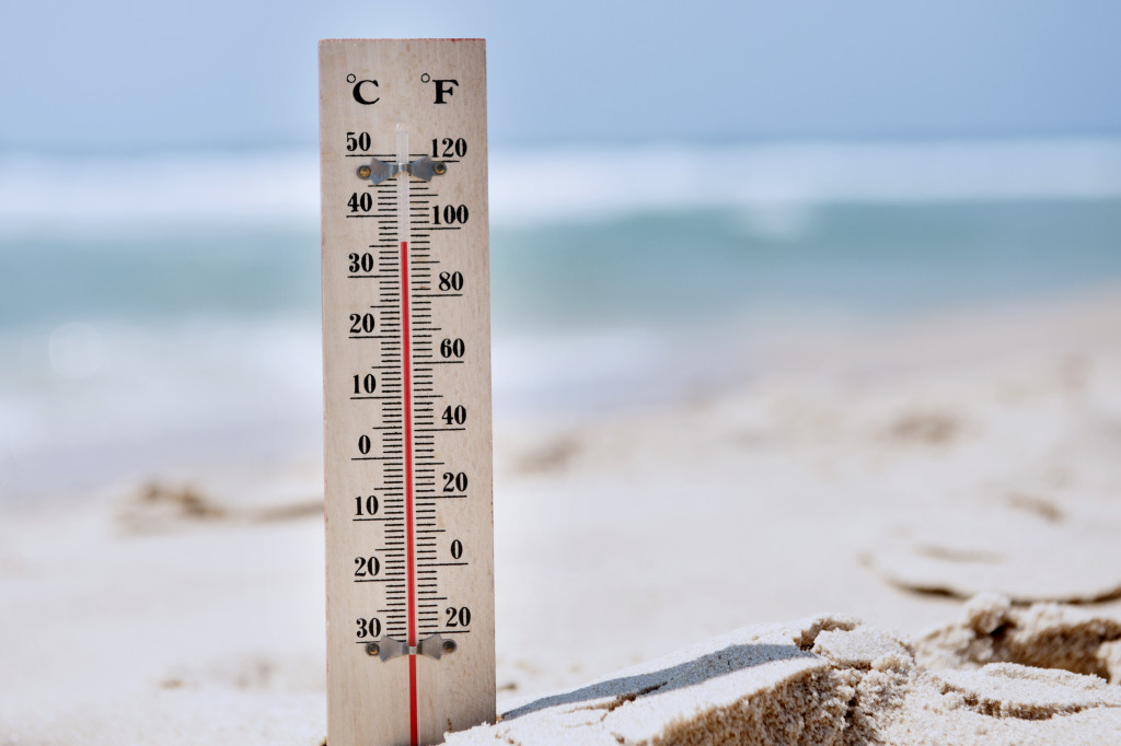 thermometer on a beach
